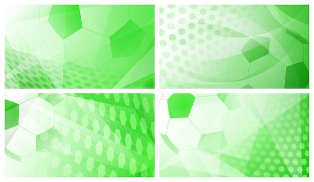 Conjunto de quatro fundos abstratos de futebol ou futebol com uma grande bola em cores verdes