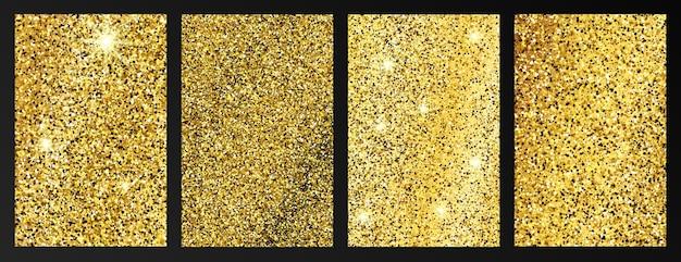 Conjunto de quatro fundos brilhantes dourados com brilhos dourados e efeito de purpurina. desenho de banner de histórias. espaço vazio para o seu texto. ilustração vetorial