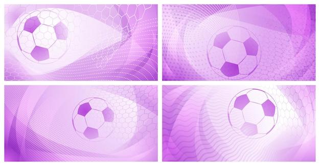 Conjunto de quatro fundos de futebol ou futebol com uma grande bola em cores roxas claras