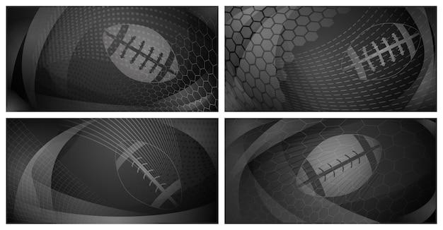 Conjunto de quatro fundos de rugby com uma grande bola nas cores preta e cinza