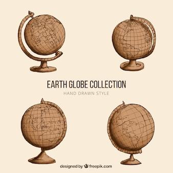 Conjunto de quatro globos da terra do vintage