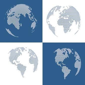 Conjunto de quatro globos pontilhados 3d