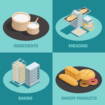 Conjunto de quatro ícones de fábrica isométrica de padaria