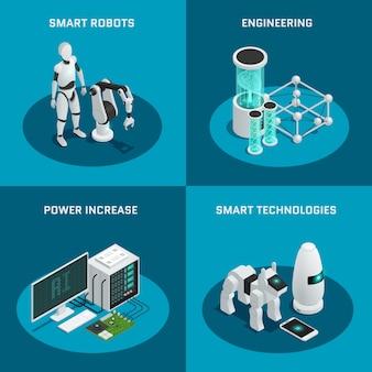 Conjunto de quatro ícones de inteligência artificial quadrada com tecnologias inteligentes de engenharia de aumento de poder de robô inteligente