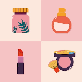 Conjunto de quatro ícones de maquiagem