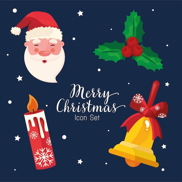 Conjunto de quatro ícones e letras do feliz natal feliz