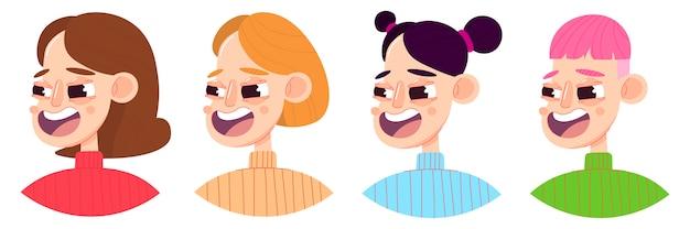 Conjunto de quatro ilustração plana de jovem com penteado diferente.