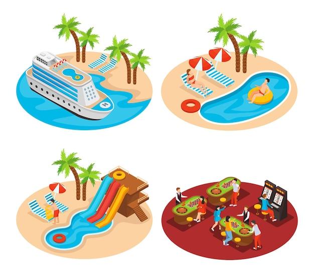 Conjunto de quatro ilustrações isométricas com navio de cruzeiro, cassino e piscinas.
