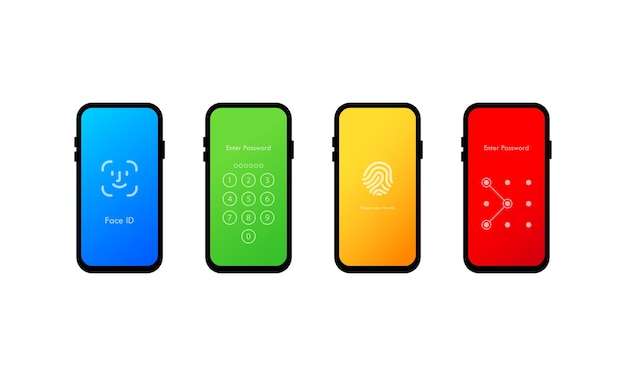 Conjunto de quatro interfaces de senha de loch para tela de celular