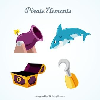 Conjunto de quatro itens de pirata