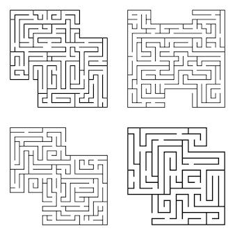 Conjunto de quatro labirintos pretos solados, complexidade começando do labirinto em fundo branco.
