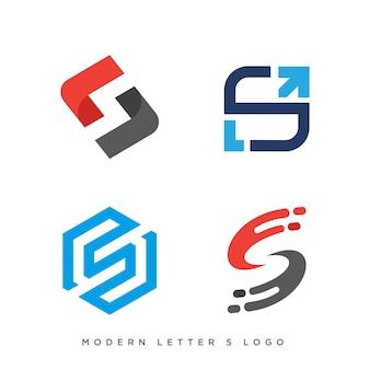 Conjunto de quatro logotipo da letra s moderna