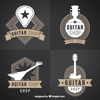 Conjunto de quatro logotipos de guitarra