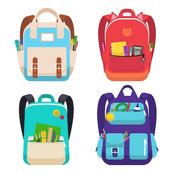 Conjunto de quatro mochilas escolares coloridas. mochilas com material de estudo - canetas, réguas, pincéis, marcadores, etc. educação e estudo, volta às aulas. ilustração vetorial.