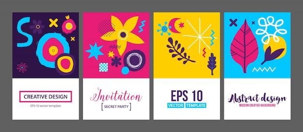 Conjunto de quatro modelos de fundos criativos com elementos desenhados mão abstrata.