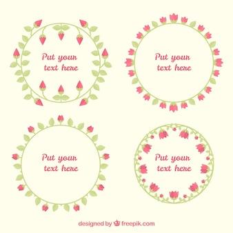 Conjunto de quatro molduras redondas com rosas em design plano