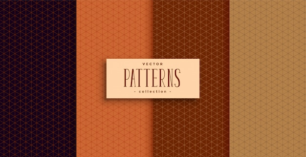 Conjunto de quatro padrões clássicos de cores étnicas