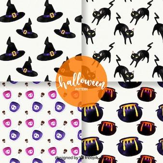 Conjunto de quatro padrões de aguarela de halloween