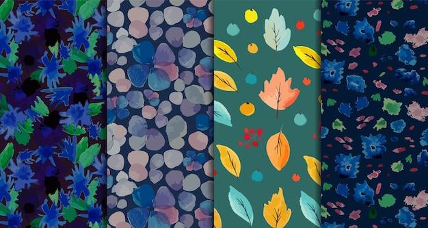 Conjunto de quatro padrões florais e aquarela de folhas