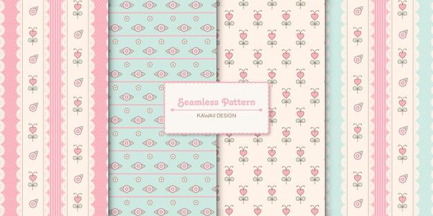 Conjunto de quatro padrões florais kawaii sem costura