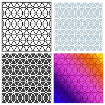 Conjunto de quatro padrões sem costura, fundos criativos artísticos abstratos ou texturas florais.