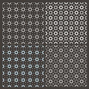 Conjunto de quatro padrões sem emenda delicados árabes com estrelas estilizadas