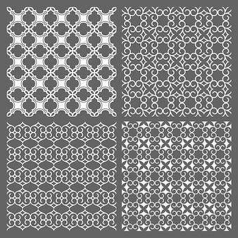 Conjunto de quatro padrões sem emenda em estilo árabe