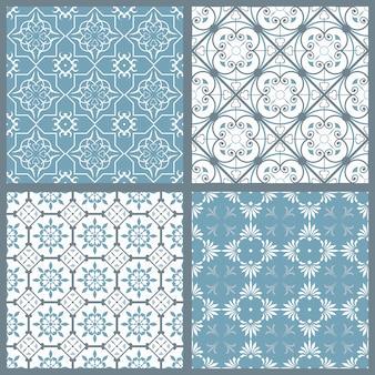 Conjunto de quatro padrões sem emenda simétricos vintage
