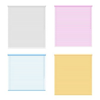Conjunto de quatro persianas de janela colorida