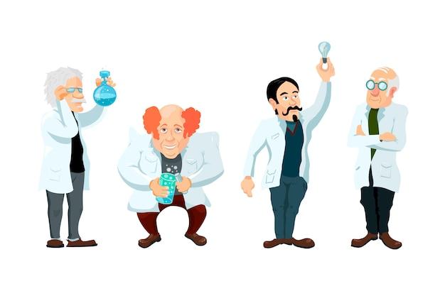 Conjunto de quatro personagens de cientistas bonito dos desenhos animados isolado