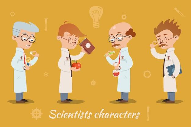 Conjunto de quatro personagens de cientistas vetoriais usando óculos e jalecos e segurando livros, material de vidro de laboratório ou equipamentos de diferentes idades, todos homens
