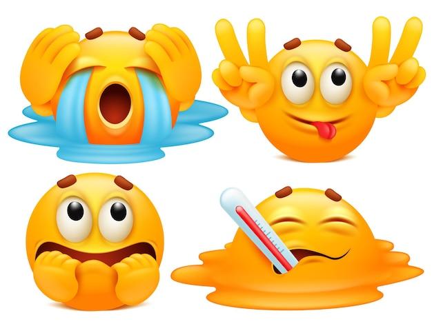 Conjunto de quatro personagens de desenhos animados emoji em várias emoções.