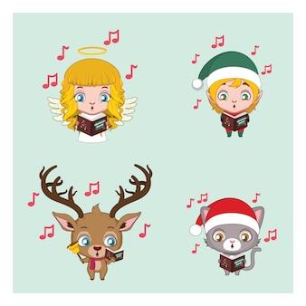 Conjunto de quatro personagens de natal cantando canções de natal