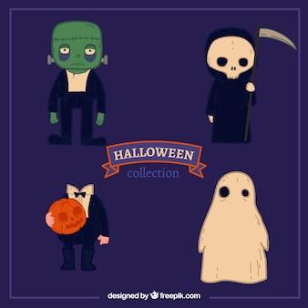 Conjunto de quatro personagens desenhados a mão de halloween