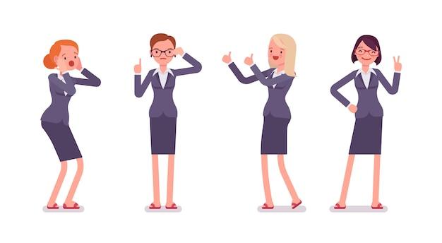 Conjunto de quatro personagens femininas de negócios