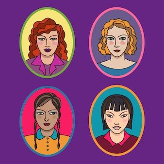 Conjunto de quatro retratos de desenho animado de jovens senhoras