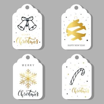 Conjunto de quatro rótulos de natal, design de adesivos