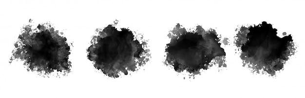 Conjunto de quatro salpicos de aquarela com tinta preta