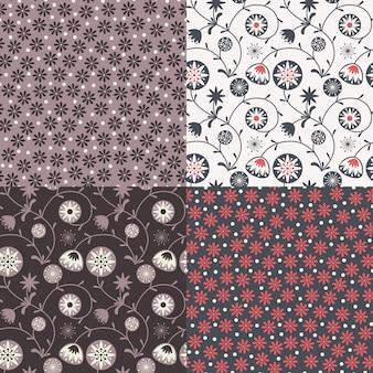Conjunto de quatro testes padrões florais coloridos (telha sem emenda).