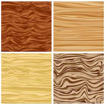 Conjunto de quatro textura de madeira abstrata em design plano. ilustração vetorial