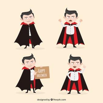 Conjunto de quatro vampiros engraçados