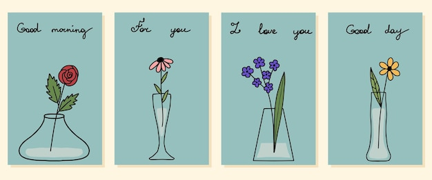 Conjunto de quatro vasos de mini cartões postais desenhados à mão com modelo de design de flores