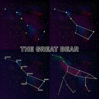 Conjunto de quatro versões da constelação de ursa maior: a constelação do grande urso