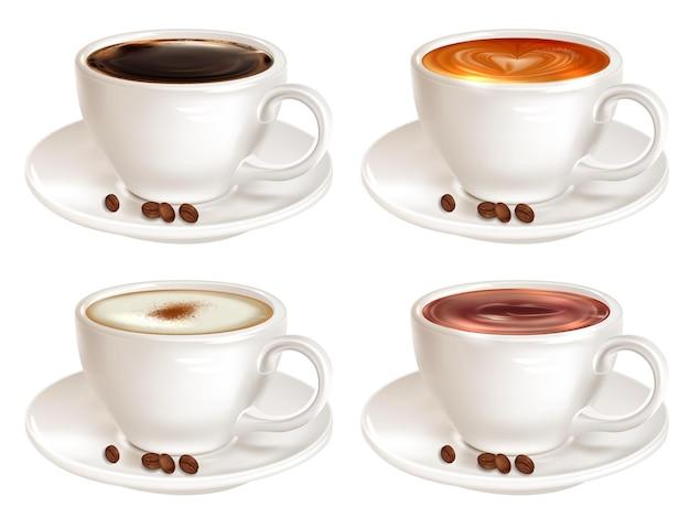 Conjunto de quatro xícaras de café de diferentes variedades, vista lateral
