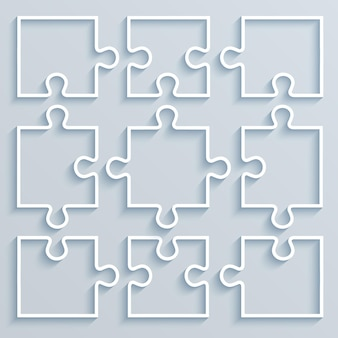 Conjunto de quebra-cabeça de peças de papel. conceito de negócio, modelo, layout, .infográficos.