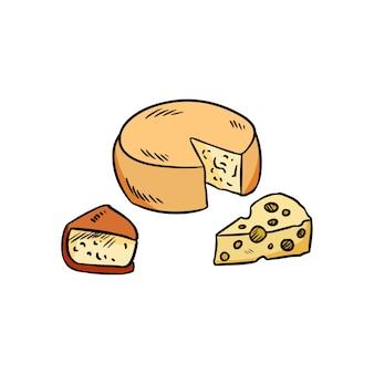 Conjunto de queijo de mão desenhada doodle colorido orgânico