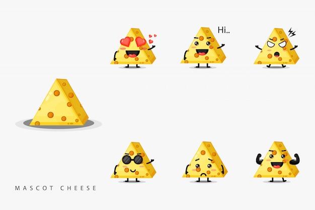 Conjunto de queijo mascote design bonito