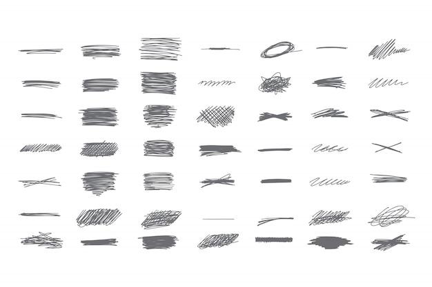 Conjunto de rabisco desenhado de mão