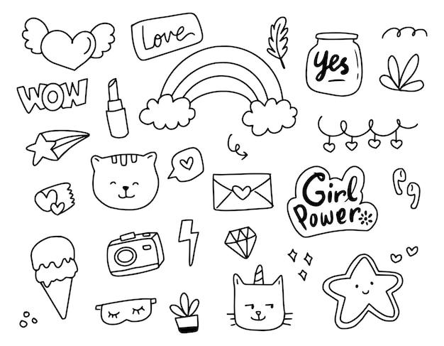 Conjunto de rabiscos abstratos desenhando desenhos animados