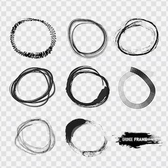 Conjunto de rabiscos circulares mão desenhada.